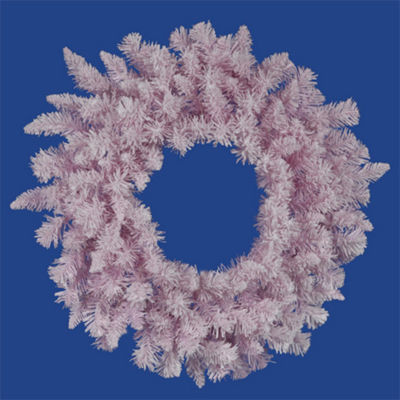 "36"" Flocked Cupcake Pink Artificial Spruce Christmas Wreath - Unlit"""
