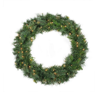 "36"" Pre-Lit Atlanta Mixed Cashmere Pine ArtificialChristmas Wreath - Clear Lights"""