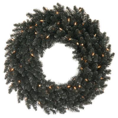 "36"" Pre-Lit Black Fir Artificial Halloween or Christmas Wreath - Clear Lights"""