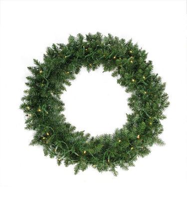 "36"" Pre-Lit Buffalo Fir Artificial Christmas Wreath - Warm White LED Lights"""