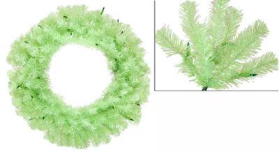 "36"" Pre-Lit Chartreuse Green Wide Cut Artificial Christmas Wreath - Green Lights"""