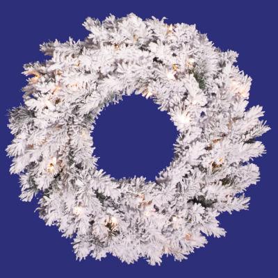 "36"" Pre-Lit Flocked Alaskan Pine Artificial Christmas Wreath - Clear Dura Lights"""