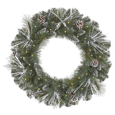 "36"" Pre-Lit Frosted and Glittered Pine Cone Christmas Wreath - Clear Lights"""