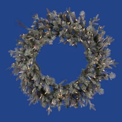 "36"" Pre-Lit Frosted Wistler Fir Artificial Christmas Wreath - Clear Dura Lights"""