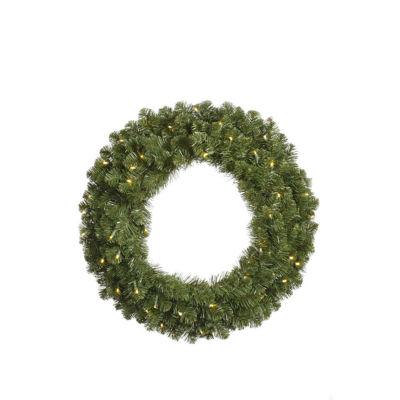 "36"" Pre-Lit Grand Teton Artificial Christmas Wreath - Clear Dura-Lit Lights"""