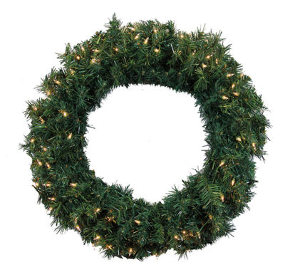 "36"" Pre-Lit Green Cedar Pine Artificial ChristmasWreath - Clear Lights"""