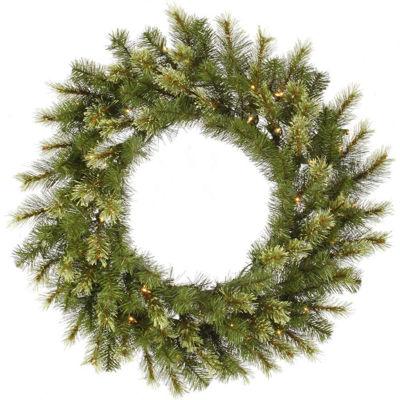 "36"" Pre-Lit Jack Pine Artificial Christmas Wreath- Warm Clear LED Lights"""