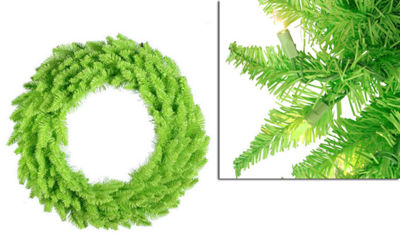 "36"" Pre-Lit Lime Green Ashley Spruce Christmas Wreath - Clear & Green Lights"""