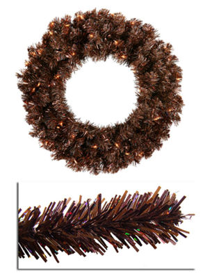 "36"" Pre-Lit Mocha Brown Sparkling Artificial Christmas Wreath - Clear Lights"""