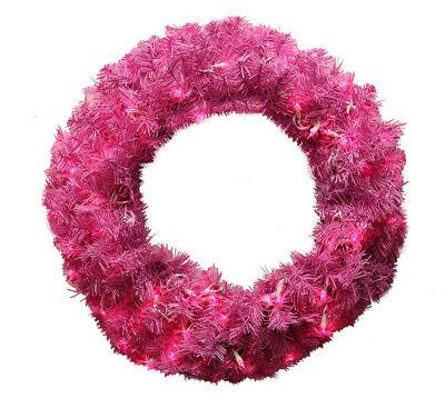 "36"" Pre-Lit Orchid Pink Cedar Pine Artificial Christmas Wreath - Pink Lights"""