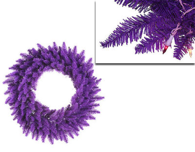 "36"" Pre-Lit Purple Ashley Spruce Christmas Wreath- Clear & Purple Lights"""