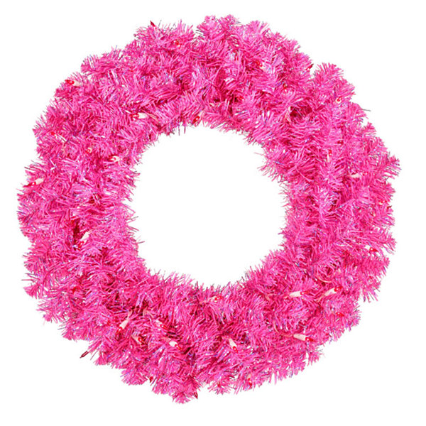 "36"" Pre-Lit Sparkling Hot Pink Tinsel Artificial Christmas Wreath - Pink Lights"""