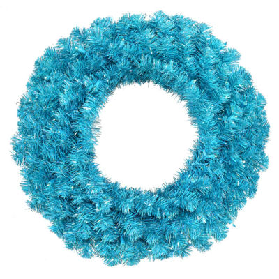 "36"" Pre-Lit Sparkling Sky Blue Artificial Christmas Wreath - Teal Lights"""