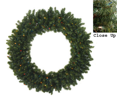 """36"""" Pre-Lit Two-Tone Canadian Pine Artificial Christmas Wreath - Multi Lights"""""""