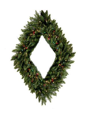 "42"" Pre-Lit Camdon Fir Diamond Shaped Artificial Christmas Wreath - Multi Lights"""