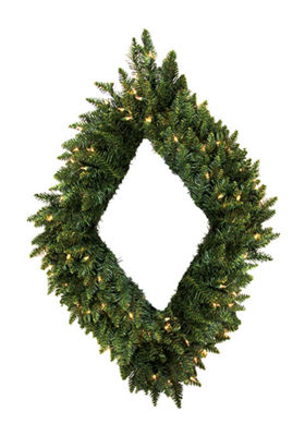 "42"" Pre-Lit Camdon Fir Diamond Shaped Christmas Wreath - Warm Clear LED Lights"""