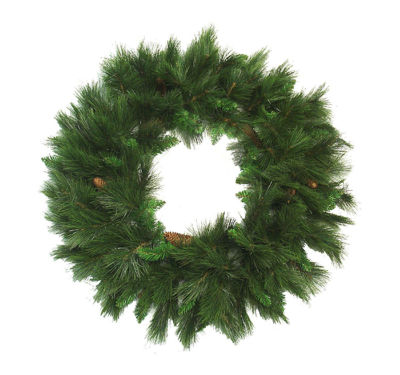 "48"" Mixed Long Needle Pine Artificial Christmas Wreath with Pine Cones - Unlit"""