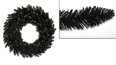 "48"" Pre-Lit Black Ashley Spruce Artificial Christmas Wreath - Clear Lights"""
