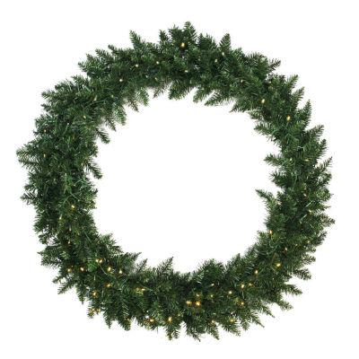 "48"" Pre-Lit Buffalo Fir Artificial Christmas Wreath - Warm White LED Lights"""