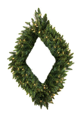 "48"" Pre-Lit Camdon Fir Diamond Shaped Artificial Christmas Wreath - Clear Lights"""