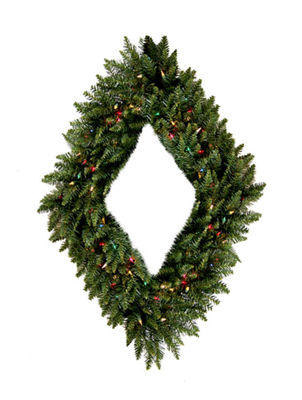 "48"" Pre-Lit Camdon Fir Diamond Shaped Artificial Christmas Wreath - Multi Lights"""