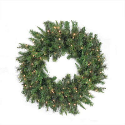 "48"" Pre-Lit Canyon Pine Artificial Christmas Wreath - Clear Lights"""