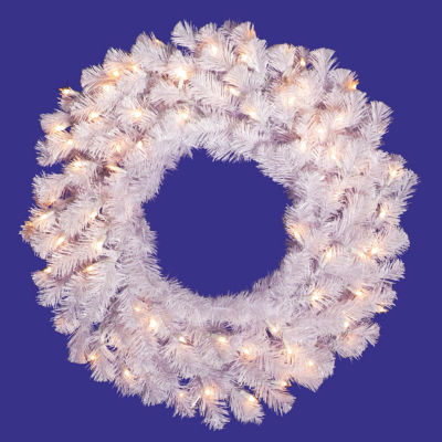 """48"""" Pre-Lit Crystal White Artificial Christmas Wreath - Clear Dura Lights"""""""