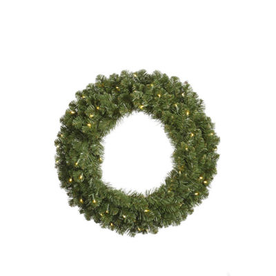 "48"" Pre-Lit Double-Sided Grand Teton Artificial Christmas Wreath - Clear LED"""