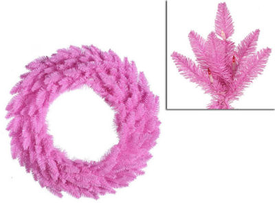 """48"""" Pre-Lit Pink Ashley Spruce Christmas Wreath -Clear & Pink Lights"""""""