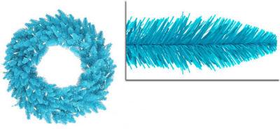"""48"""" Pre-Lit Sky Blue Ashley Spruce Christmas Wreath - Clear & Blue Lights"""""""