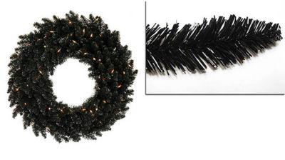 5' Pre-Lit Black Ashley Spruce Christmas Wreath -Clear Lights
