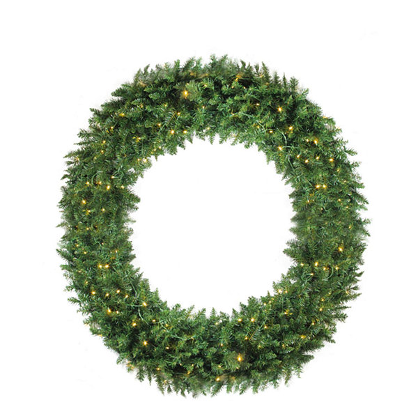 5' Pre-Lit Buffalo Fir Commercial Artificial Christmas Wreath - Warm White LED Lights