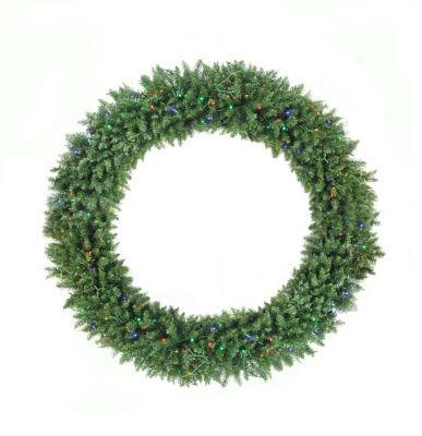 6' Pre-Lit Buffalo Fir Commercial Artificial Christmas Wreath - Multi LED Lights