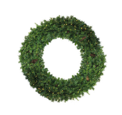 6' Pre-Lit Dakota Red Pine Commercial Artificial Christmas Wreath - Warm White LED Lights