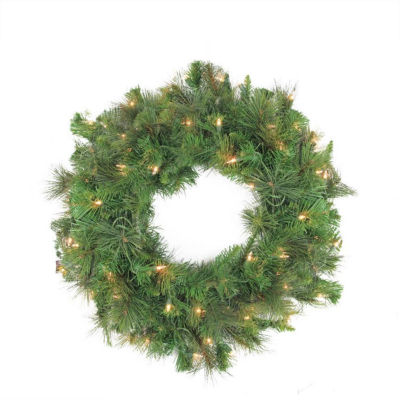 "60"" Pre-Lit LED Canyon Pine Artificial Christmas Wreath - Clear Lights"""