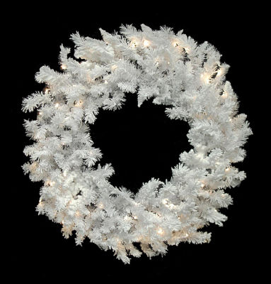 "60"" Pre-Lit LED Flocked White Spruce Christmas Wreath - Warm Clear Lights"""
