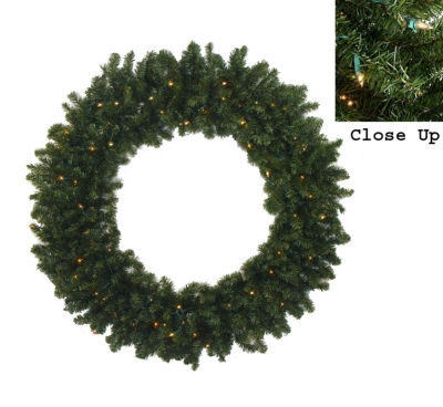 7' Pre-Lit Commercial Canadian Pine Artificial Christmas Wreath - Clear Lights