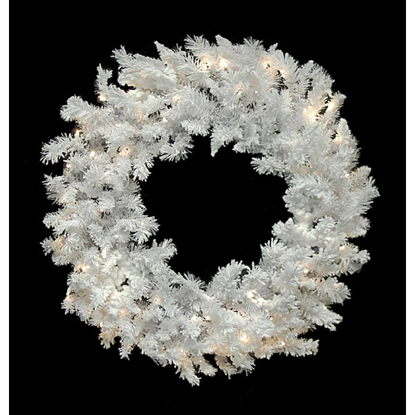 "72"" Pre-Lit LED Flocked White Spruce Christmas Wreath - Warm Clear Lights"""