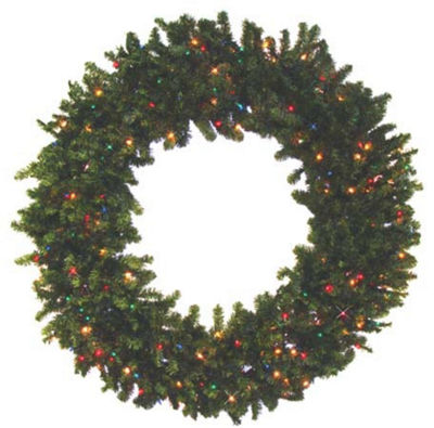 8' Pre-Lit Canadian Pine Commercial Size Artificial Christmas Wreath - Multi-Color Lights