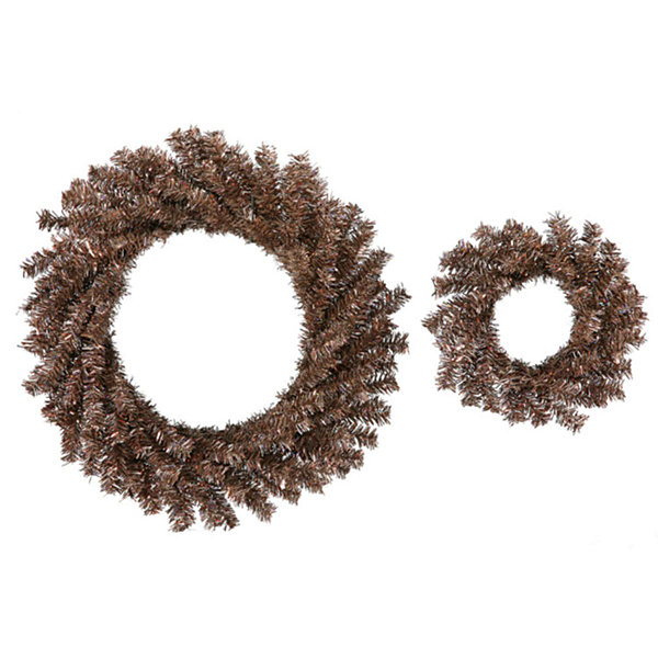 "Set of 2 Sparkling Mocha Brown Artificial Christmas Wreaths 10""/18"" - Unlit"""