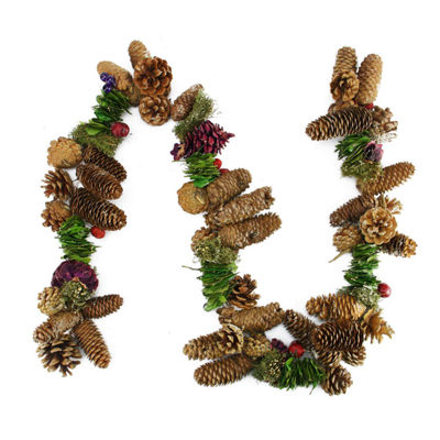 5' Brown and Purple Pine Cone  Twig and Berry Artificial Christmas Garland - Unlit