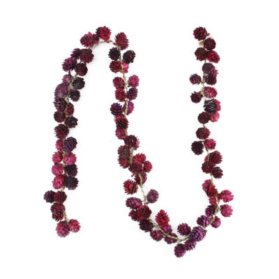 5' Decorative Wine Burgundy Glitter Mini Pine Cone Artificial Christmas Garland - Unlit