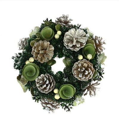 "11"" Green Mini Pine Cone and Wooden Rose Artificial Christmas Wreath - Unlit"""