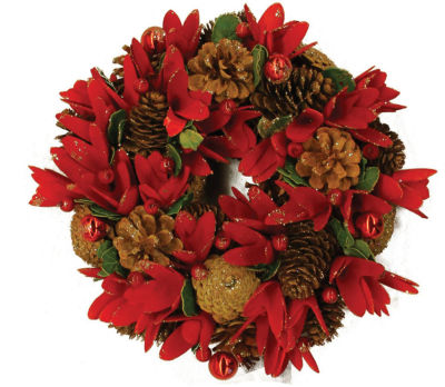 """13"""" Glittered Pine Cone Red Floral Artificial Christmas Wreath with Ornaments - Unlit"""""""