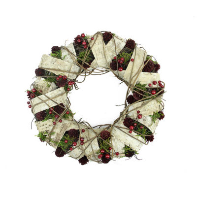 "19"" Natural Twig and Birch Wood Pine Cone Artificial Christmas Wreath - Unlit"""