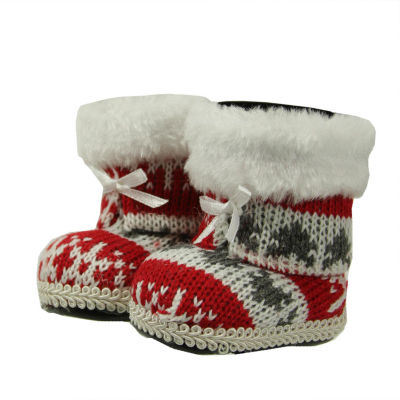 "2.75"" Alpine Chic Red  White and Gray Nordic StyleBoots Christmas Ornament"""