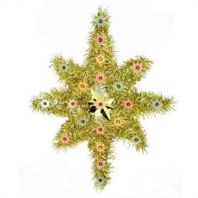 "21"" Oversized Lighted Gold Tinsel Star of Bethlehem Christmas Tree Topper - Multi-Color Lights"""