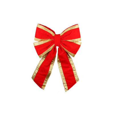 "22"" x 32"" Commercial 4-Loop Red Velveteen and Gold Trim Christmas Bow"
