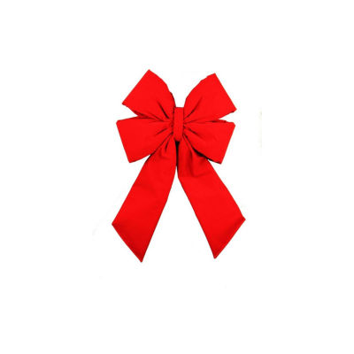 "22"" x 32"" Commercial 4-Loop Red Velveteen Christmas Bow Decoration"""