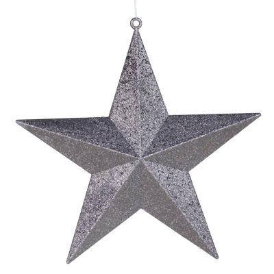 "23"" Commercial Size Pewter-colored Glitter 5-Pointed Star Christmas Ornament"""